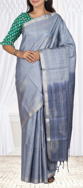 Stone Blue Pure Soft Silk Saree