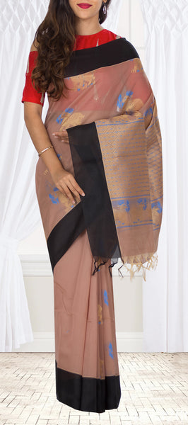 Fawn & Black Semi Silk Cotton Casual Saree