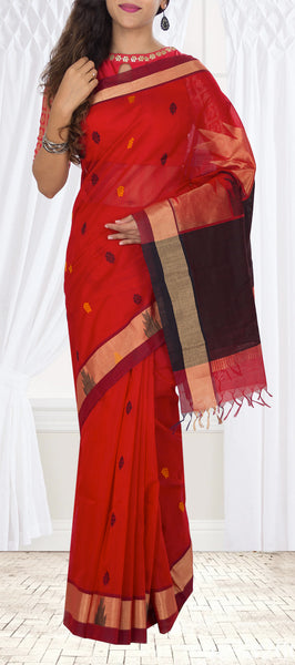 Traditional Bright Red & Dark Brown Silk Cotton Saree