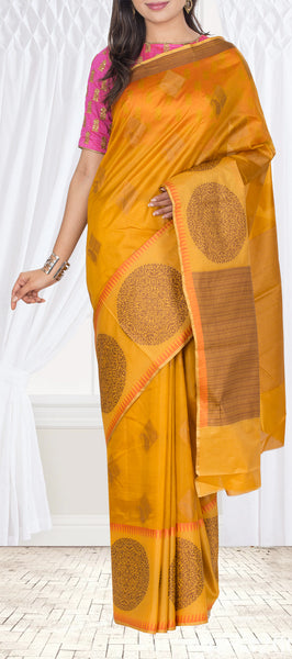 Mustard Pure Tussar Silk Saree