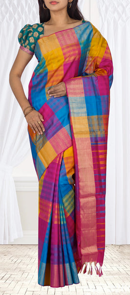 Multicoloured Checked Soft Silk Saree With Jute Finish