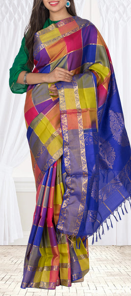 Multicolour Checked Soft Silk Saree