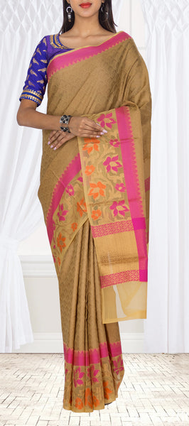 Fawn Organza Casual Saree