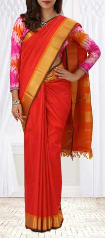 Dark Orange Pure Kanchipuram Handloom Silk Saree With Half-fine Zari