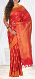 Red Pure Kanchipuram Handloom Silk Saree With Half Fine Zari
