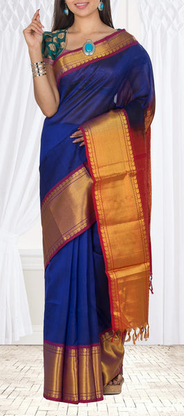 Dark Blue & Red Silk Cotton Saree