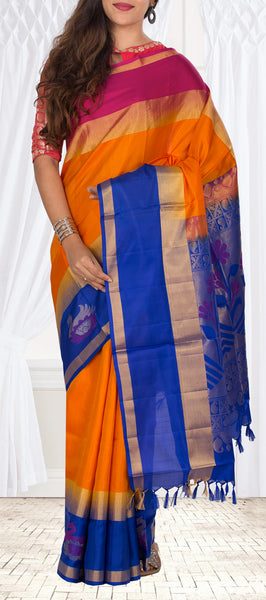 Orange, Blue & Magenta Soft SIlk Saree