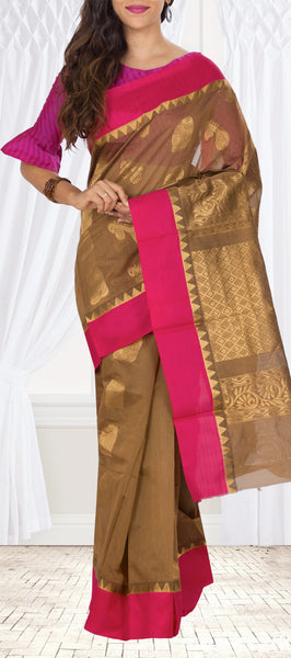 Brown & Pink Semi Silk cotton Saree