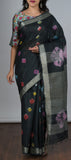 Black linen saree