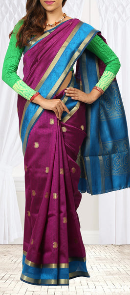 Purple and Evening Blue Art Silk Saree