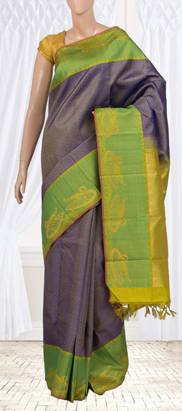 Grey and Green Pure Kanchipuram Handloom Silk Saree