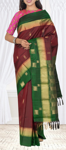 Maroon & Green Pure Soft Silk Saree