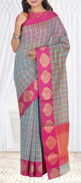 Powder Blue & Magenta Semi Silk Cotton Casual Saree