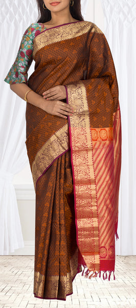 Dark Brown & Red Lightweight Kanchipuram Handloom Pure Silk Saree
