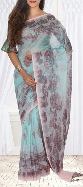 Ice Blue Semi Tussar Silk Casual Saree