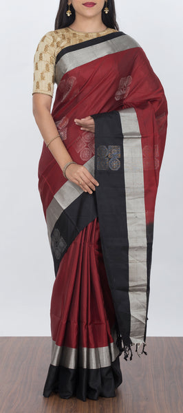 Marron and Black Softsilk Saree