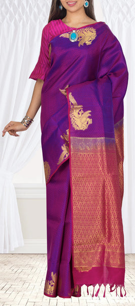 Purple & Magenta Pink Lightweight Kanchipuram Silk Saree