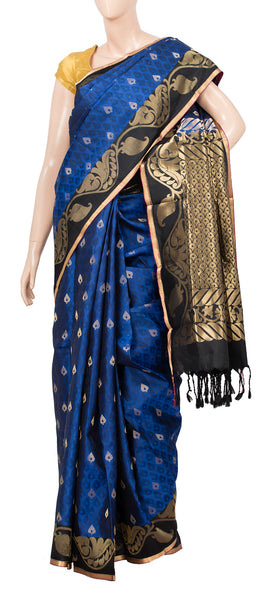 Deep Blue Lightweight Kanchipuram Silk Saree With Half Fine Zari