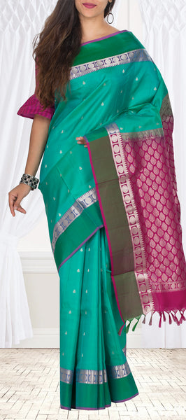 Teal  and Magenta Lightweight Kanchipuram Handloom Silk Saree