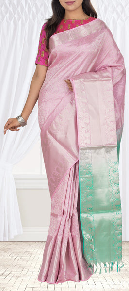 Powder Pink & Teal Green Pure Soft Silk Saree
