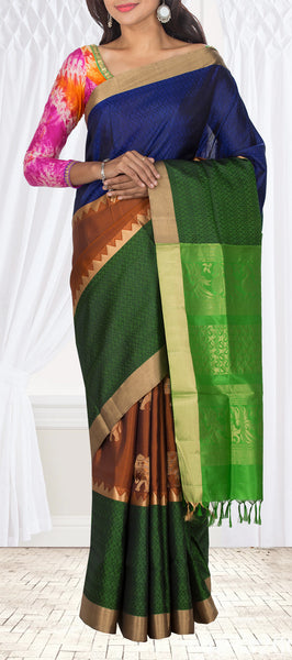 Dark Blue, Green & Rust Soft Silk Saree