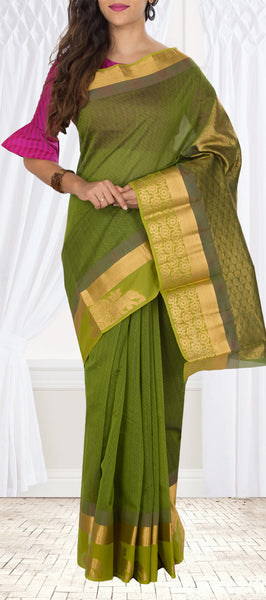 Moss Green Semi Silk cotton Saree