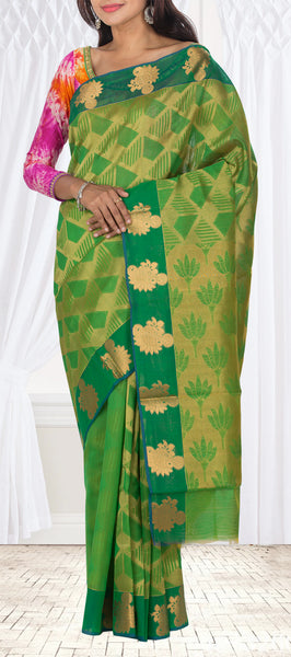 Parrot Green & Dark Green Semi Silk Cotton Casual Saree