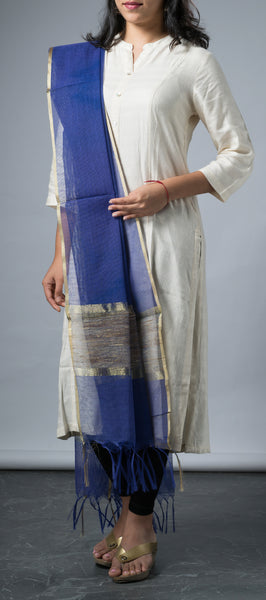 Royal Blue Dupatta with Jute Pallu
