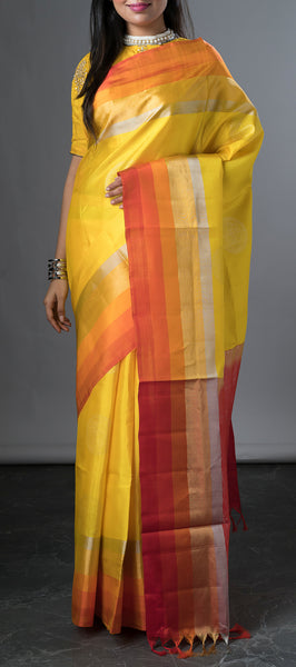 Neon Yellow Soft silk Saree