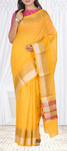 Mango Yellow Semi Silk Cotton Casual Saree