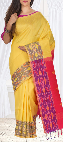 Yellow & Pink Pure Jute SIlk Saree
