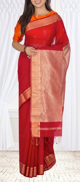 Dark Red Maheshwari Cotton Saree