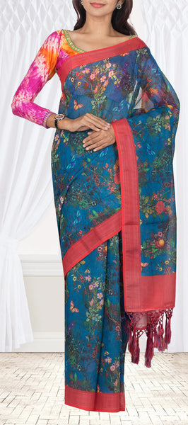 Sea Blue Semi Linen Saree With Floral Prints