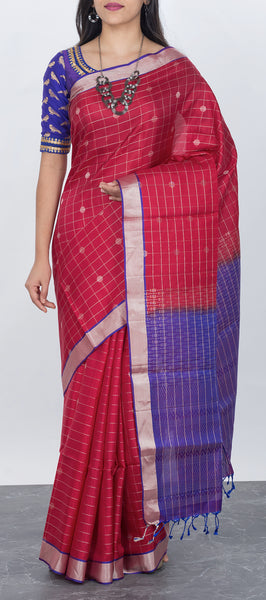 Kum kum red softsilk saree with checks