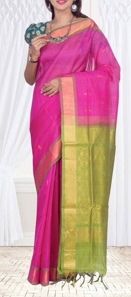 Bright Pink & Green Traditional Silk Cotton Saree