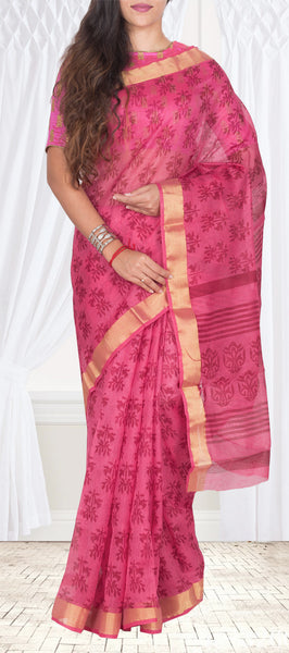 Pink Semi Cotton Block Printed Casual Saree
