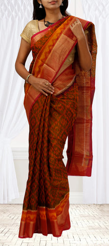 Red & Olive Green Silk Cotton Saree