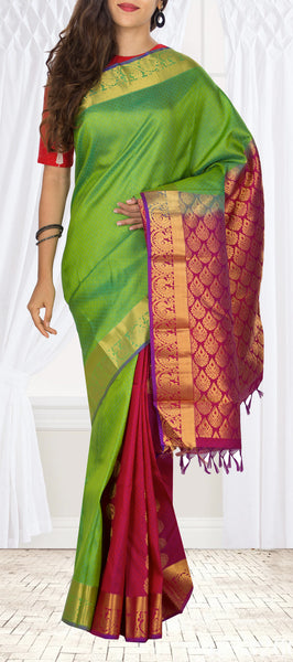 Parrot Green & Magenta Lightweight Kanchipuram Handloom SIlk Saree With Half-Fine Zari