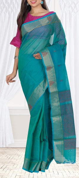 Teal Blue Simple Cotton Saree