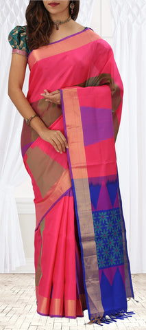 Pink & Dark Blue Soft Silk Saree