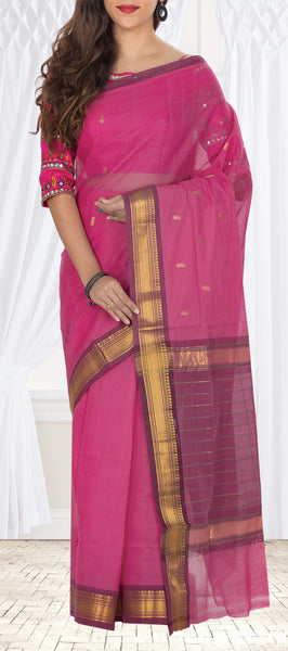 Dark Pink Maheshwari Cotton Saree