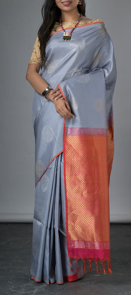 Borderless Grey Soft Silk Saree