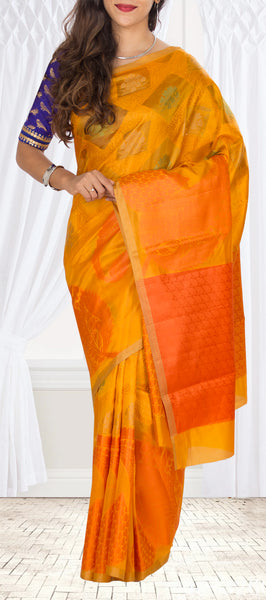 Mango Yellow Tussar Silk Saree