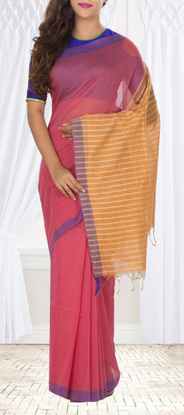 Dark Pink & Light Orange Silk Cotton Saree
