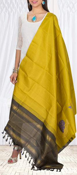 Greenish Yellow & Dark Grey Pure Kanchipuram Silk Dupatta