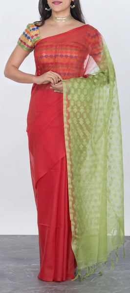 Red linen silk saree