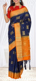 Navy Blue & Orange Semi Jute Silk Casual Saree