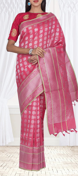 Candy Pink Semi Silk Cotton Casual Saree