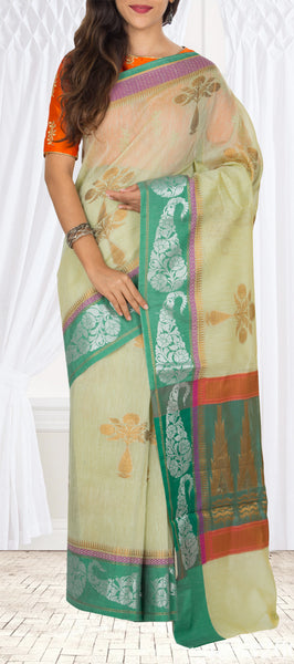 Green Semi Silk Cotton Saree With Linen Finish