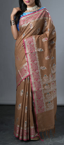 Light Brown Linen Saree